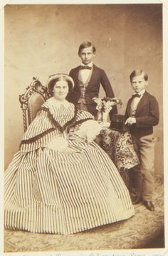 royalmotherhood:  Queen Marie of Bavaria, nee Princess of Prussia, with her two sons, Ludwig, later King Ludwig II of Bavaria, and Otto, later King Otto I of Bavaria. Both of her sons would be declared mentally incompetent.