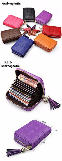 US$11.69 RFID Antimagnetic Genuine Leather Cowhide 13 card slots Tassel Card Holder For Women Men