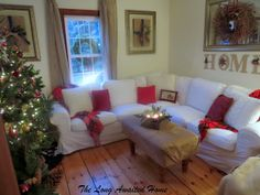 Christmas in the Family Room.  Ikea Ektorp sectional sofa in Blekinge white.