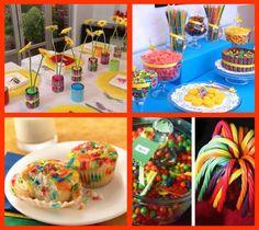 Love the rainbow cupcakes.... Colorful food table - crayon birthday theme