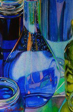 Blueberry Hill by Carrie Waller Watercolor ~ 9 x 6 Blue Bottle, Bottle Art, Hyperrealism, Still Life Art, Gcse Art, Bottle Painting, Light Reflection, Watercolor Sketch, Realism Art