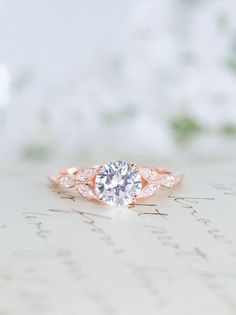 Rose Gold Engagement Ring - Art Deco Ring - Vintage Wedding Ring - Antique Ring - Cubic Zirconia Ring - CZ Solitaire Ring - Round Cut Ring #goldsolitairering