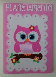 Molds for EVA notebook cover Kids Crafts, Owl Crafts, Diy And Crafts, Paper Crafts, Decorate Notebook, General Crafts, Scrapbook Albums, Preschool Activities, Paper Dolls