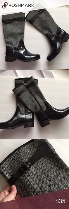 Preppy Rain boots! New! Size 10! Preppy Black and herringbone rain boots! New! Black rubber on the bottom and herringbone on the top! Super cute with leggings or skinny jeans! I inch heel. 13.5 inches tall. Top 15 inches around. 5 star rated! Cape Shoes Winter & Rain Boots