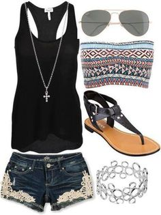 First thing I really don't like is the thing that goes under its colorful when the outfit isn't I would of done black or white but the shirt cute the shorts are cute with the little design on it the glasses match the little design  the shoes are nice there black goes with the outfit  the bracelet is cute with the chain thing my rate is a 5.6