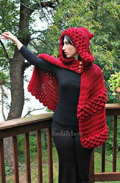 Crocodile Stitch Hooded Cape (adult Size) Crochet Pattern