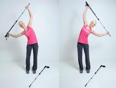 """""""Half Moon Swing"""" Hold one pole with both hands above the head with both arms slightly bent. Bend the whole torso in line with the body to the right, but make sure to keep your legs and hips still. Repeat this to left side as well. This exercise is great for both warming up and stretching. Good Luck!"""