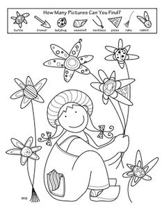 """Spring Activity Coloring Pages. This Hidden Pictures is one in a four page set including Color By Numbers Snake (addition by 2's, 5's, 10's), Watering Can Matching Pair, and """"It's a Spr-ing Thing,"""" a fun vocabulary teaser."""