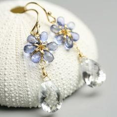 Blue Sapphire Earrings Flower Clear Crystal September Birthstone 18 karat solid gold