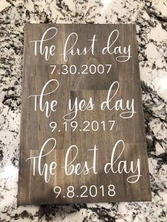 First day yes day best day wedding sign - wedding .- First day yes day best day wedding sign – wedding sign – best dates wedding sign – wedding decor – wedding date sign – engagement gift – first - Cute Wedding Ideas, Wedding Goals, Wedding Tips, Perfect Wedding, Wedding Favors, Wedding Planning, Dream Wedding, Wedding Inspiration, Wedding Venues
