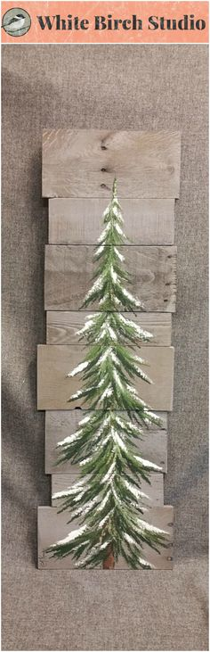 "Pine tree, Christmas tree, Reclaimed gray Wood Pallet Art, winter snow, Christmas Hand painted, upcycled, Wall art, Distressed  Original Acrylic painting on reclaimed Pallet boards. This unique piece is 36"" x apprx. 12""  This pine tree that is painted on a gray stained background, can be used for Christmas decorating and can be used all winter long! Perfect for that skinny wall space or just lean it against the wall."