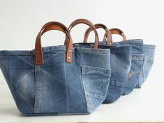 SET of 2 storage bags storage bag toy bin baby gift toys storage storage bags denim bag jeans denim home decor # Diy Jeans, Jeans Recycling, Artisanats Denim, Denim Skirt, Denim Tote Bags, Denim Bags From Jeans, Toy Bins, Denim Crafts, Diy Handbag