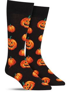 """Don't lose your head trying to find the perfect pumpkin Halloween socks — we've got 'em right here, freshly carved for you! Jack-o'-lanterns originated in Ireland (who would have guessed with that """"o"""""""