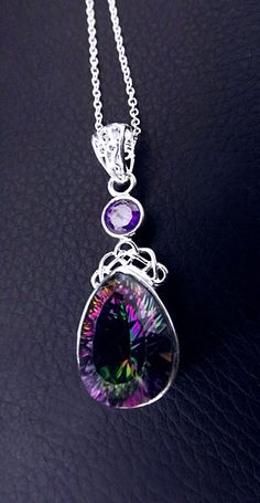 'Perception' Sterling silver Mystic Topaz necklace
