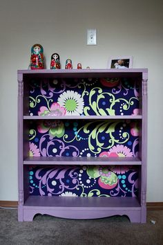 Refinished bookcase w/ fabric on the back - beautiful!