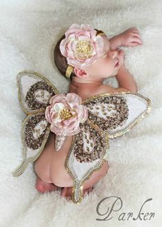 Newborn Baby Girl; Butterfly Wings