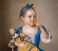 1765 Jean-Étienne Liotard (Swiss artist, 1702-1789) Girl with doll, daughter of the painter and godchild of Maria Theresia.
