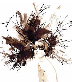 Christian Dior Designer, David Downton, Fashion Design Portfolio, Brown Art, Dress Sketches, Fashion Figures, Line Drawing, Drawing Tips, Fashion Art