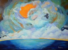 """Daily Painters Abstract Gallery: Original Contemporary Seascape Art Painting """"Infinite Intrigue"""" by Contemporary International Artist Arrachme"""