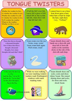 tongue twisters - English ESL Worksheets for distance learning and physical classrooms English Writing, Teaching English, English Lessons, Learn English, English Lesson Plans, Esl Lesson Plans, English English, Tongue Twisters For Kids, Tongue Twisters In English
