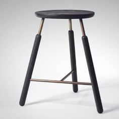 Norm Architects // wood stool with brass tubes