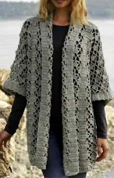 Irish lace, crochet, crochet patterns, clothing and decorations for the house, crocheted. Gilet Crochet, Crochet Coat, Crochet Cardigan Pattern, Crochet Tunic, Crochet Jacket, Irish Crochet, Crochet Clothes, Crochet Patterns, Crochet Stitches