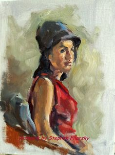 Beautiful impressionist Study in Red  Original by onroadartists, $425.00