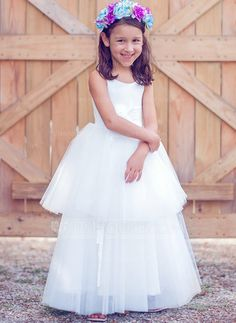 2a5ee830d18  £ A-Line Princess Floor-length Flower Girl Dress - Tulle Cotton Sleeveless  Scoop Neck - JJ s House