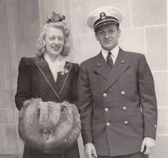 Wartime Wedding WWII Couple Uniformed Naval by EphemeraObscura