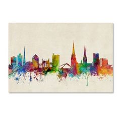 """Trademark Art """"Coventry England Skyline II"""" by Michael Tompsett Graphic Art on Wrapped Canvas Size:"""