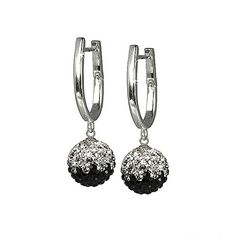 SilberDream Glitter Earring Swarowski Elements black and white. Diamond Earrings, Swarovski, Glitter, Black And White, Sterling Silver, My Style, Jewelry, Jewlery, Black N White