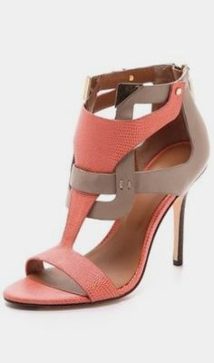 """""""Pop-tart"""" --Rachel Roy Larson Cutout Sandals (not crazy about the coral but love the style - Pam) Fab Shoes, Pretty Shoes, Dream Shoes, Crazy Shoes, Beautiful Shoes, Cute Shoes, Me Too Shoes, Shoes Heels, High Heels"""