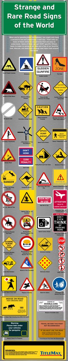 Strange and Rare Road Signs of the World #Infographic #Travel