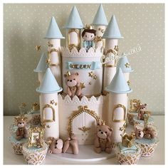 #cake#birthdaycake#teddy Castle Birthday Cakes, Castle Cakes, Torta Angel, Hot Air Balloon Cake, Christening Cake Boy, Cakes For Boys, Boy Cakes, Little Girl Birthday, Princess Castle