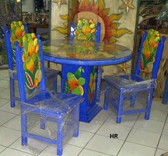 Painted Wooden Bar Stools