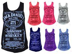 Baleza Womens Sleeveless Jack Daniels Jennessee Whiskey Print Top Vest Ladies T Shirt:Amazon:Clothing