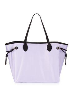Neiman Marcus Montana Nylon Drawstring Tote Bag, Lilac (Purple)