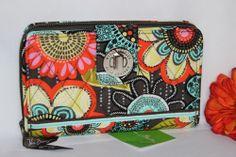 FLOWER SHOWER  Vera Bradley Zip Around Large TURN LOCK WALLET purse bag NWT