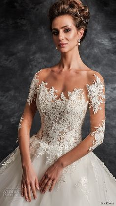 ira koval 2017 bridal three quarter sleeves sweetheart heavily embellished bodice tulle skirt romantic princess a  line wedding dress sheer button royal train (622) zv -- Ira Koval 2017 Wedding Dresses