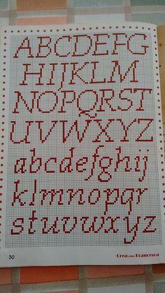 Cross stitch Alphabet 40 sts tall font chart modern cross stitch pattern hand embroidery cross stitch font PDF  - Rf:Alph102