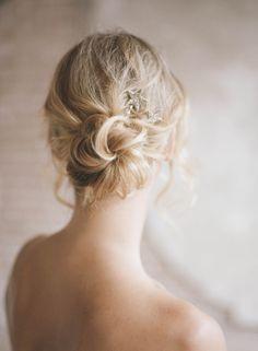 Messy Bun Romantic Wedding Hair | photo by Koby Brown http://ArchetypeStudioInc.com | as seen on Wedding Sparrow
