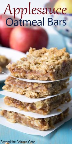 Applesauce Oatmeal Bars Applesauce Oatmeal Bars Quick and easy Oat Bars made with an applesauce filling are a family favorite. Make these for school lunches, after school snacks or a casual dessert. Delicious layers of oats with an applesauce filling. Lunch Snacks, Yummy Snacks, Delicious Desserts, Yummy Food, Kid Snacks, Fruit Snacks, Fun Food, Tasty, Apple Recipes