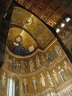 Bizancio  ,,Monreale Cathedral in Palermo province, Sicily region Italy .