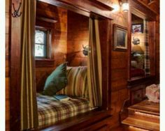 Reading nook in a cozy log cabin