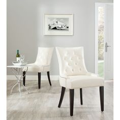 Safavieh Marseille Cream Leather Nailhead Dining Chairs (Set of 2) - Overstock™ Shopping - Great Deals on Safavieh Dining Chairs