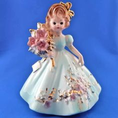 """Vintage JOSEF Originals Happy Birthday GIRL Lady Figurine Pale Blue & Flowers - From the """"Special Occasions"""" series Happy Birthday Girls, China Girl, Collectible Figurines, Vintage Beauty, Vintage Dolls, Blue Flowers, Easter Recipes, Christmas Ornaments, The Originals"""