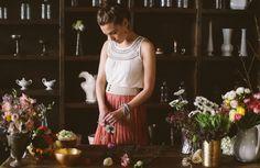 Florist at work, spring 2014 loookbook by Ruche  via marinagiller.com