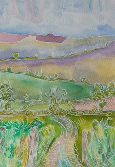 Watercolor Landscape Art, A Farm Track leading to distant hills.  by johngrovesart 45.00 €