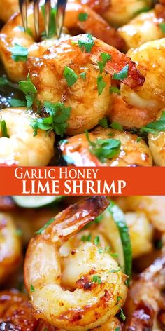 Garlic Honey Lime Shrimp - garlicky, sweet, sticky skillet shrimp with fresh lime. This recipe is so good and easy, takes only 15 mins to make.