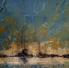 Polish painter Justyna Kopania depicts melancholy seascapes and towering ships obscured by mist with liberal applications of oil paint.